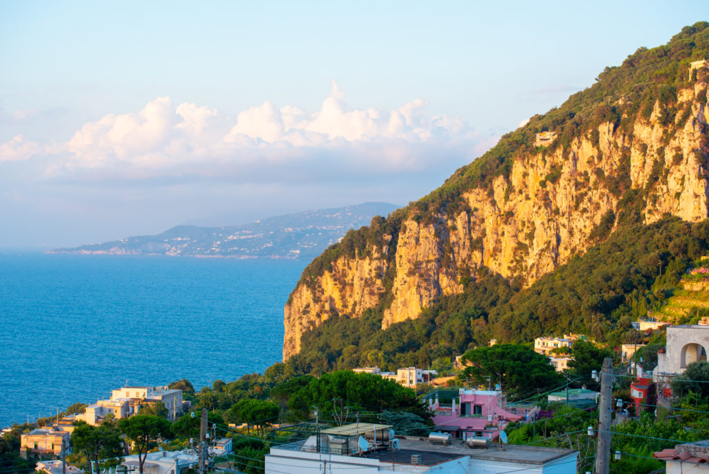 View of the Gulf of Naples from the island of Capri.