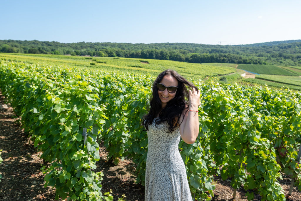 Anca Mihalache in a Champagne vineyard.